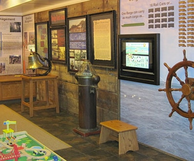 An ehibit at the Mississippi River Visitor Center in Rock Island, IL.