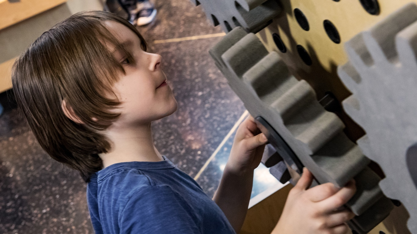 Boy playing at the Interactive Discovery Zone