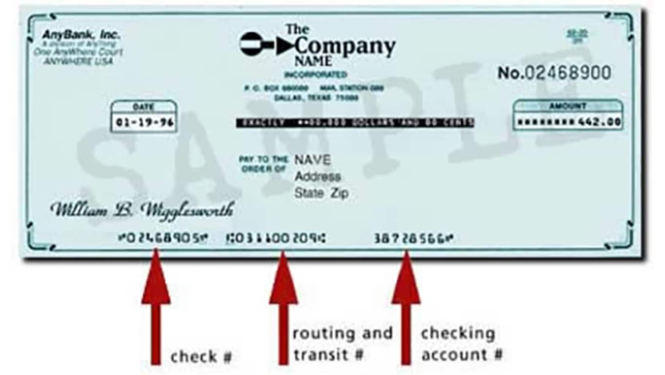 Sample of a Business Check