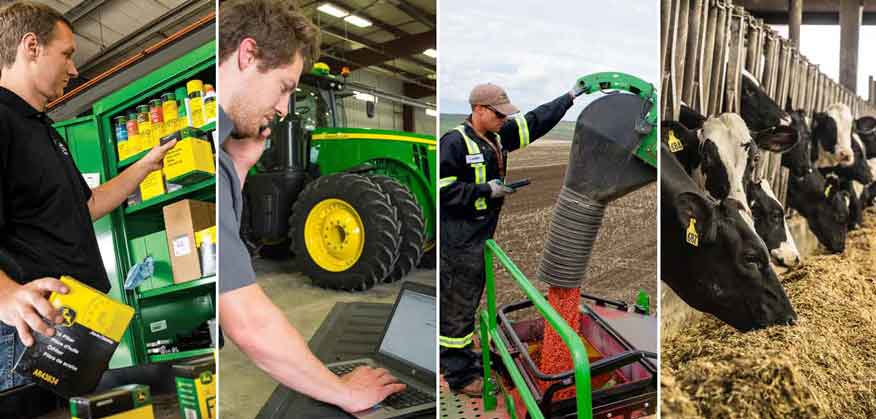 Four images featuring a man with John Deere parts and a man on a computer and a mak working in a field and cows in a barn feeding