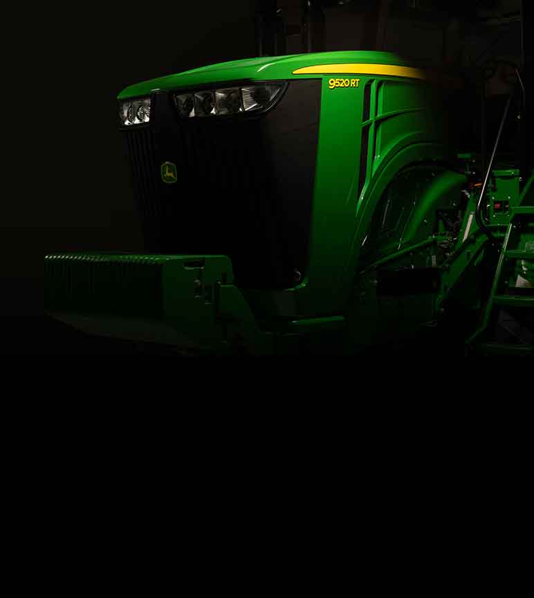 Close up of a John Deere 9520RT Tractor hood with spotlight on it