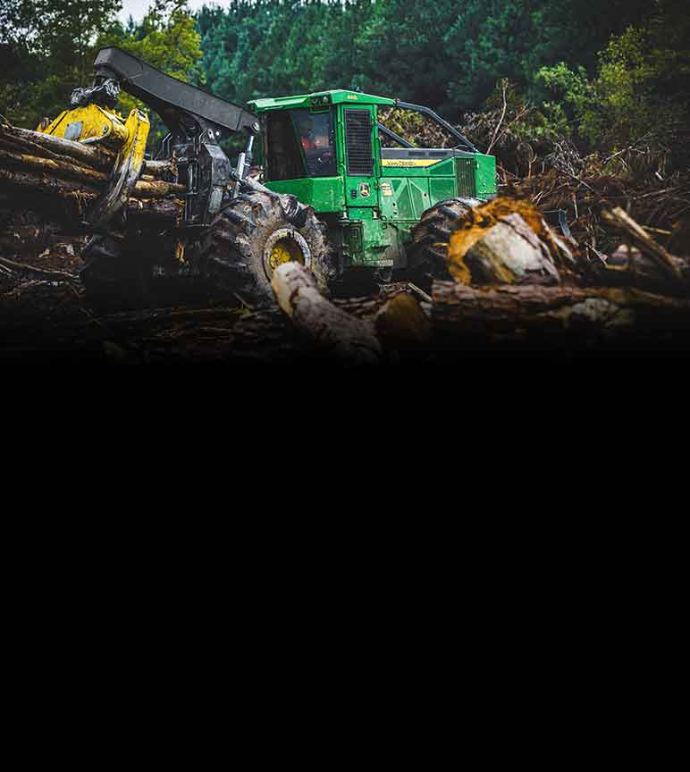 John Deere Forestry equipment operating on a logging field