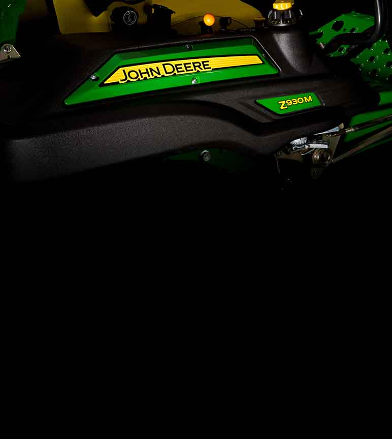 Close up side view of a John Deere Z930M