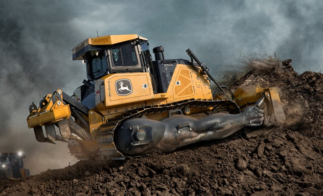 850L Dozer with artist's representation of increased pushing power shown by large muscles on the machine's undercarriage