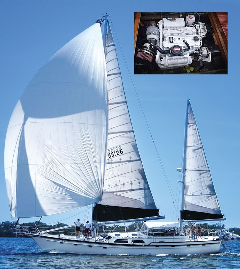 The Emerald Lady sail boat on the sea and insert of the PowerTech 4045SFM85 engine