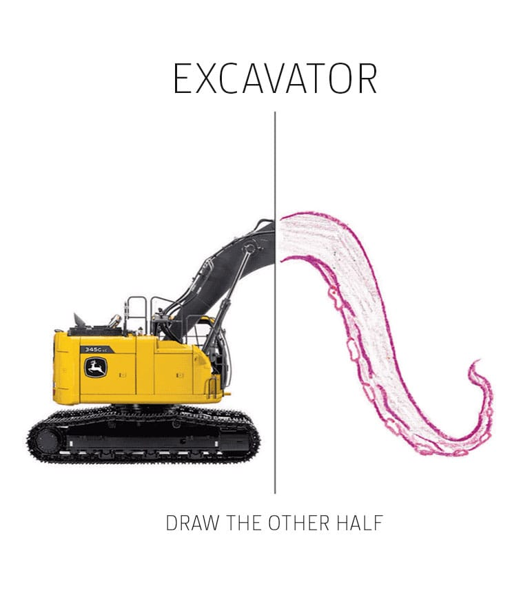 Half of excavator image, other half is hand-drawn octopus tentacle.