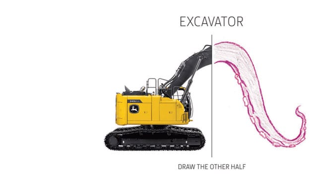 One half image of an excavator with boom arm replaced with child-drawn octopus tentacle.