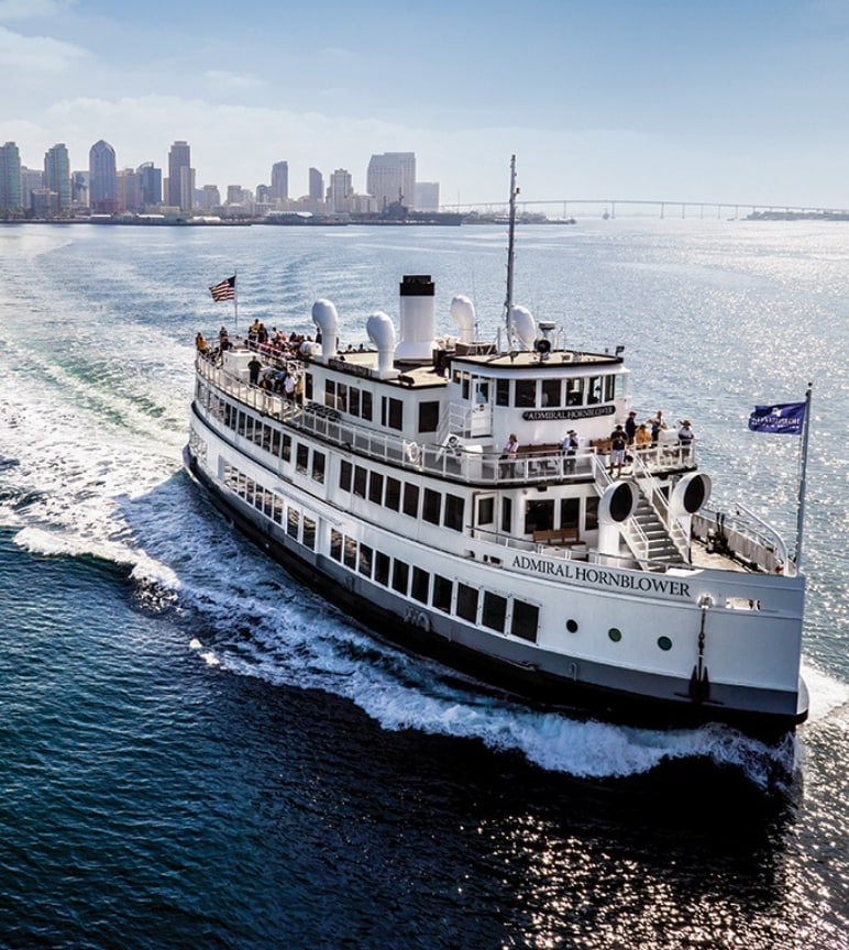 "The vessel ""Admirial Hornblower"" cruises past San Diego CA"
