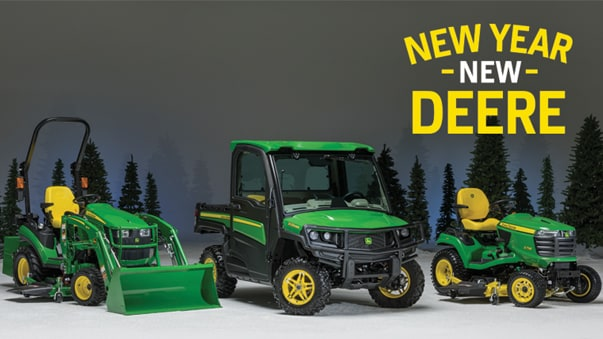 Studio shot of front loader, gator and lawn tractor in front of winter scenery.  Text on image reads New Year, New Deere.