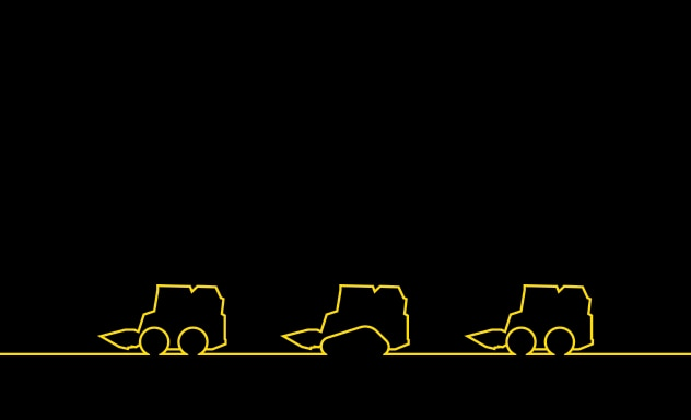Graphic of skid steers and a compact track loader yellow outline on black background