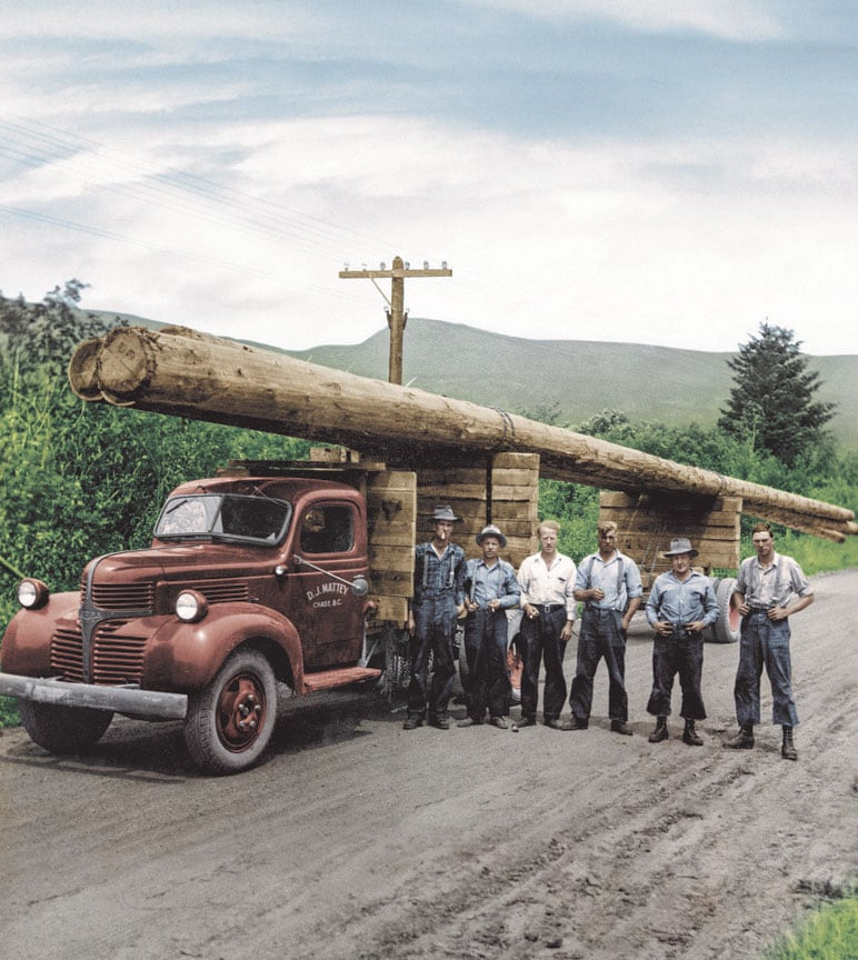 Vintage photo of six loggers in the stand in front of a pick-up truck with three felled trees strapped to the top.