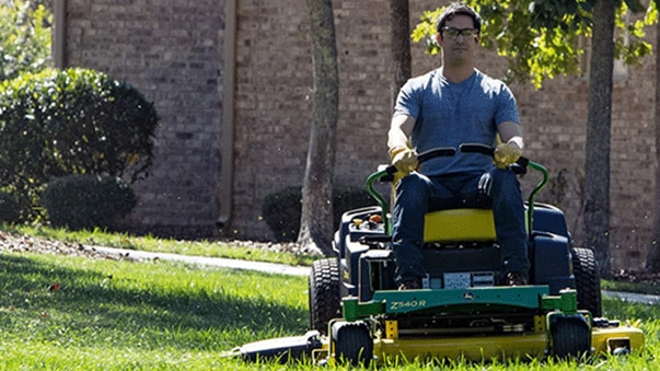 Man mowing grass on an z540r zero-turn mower