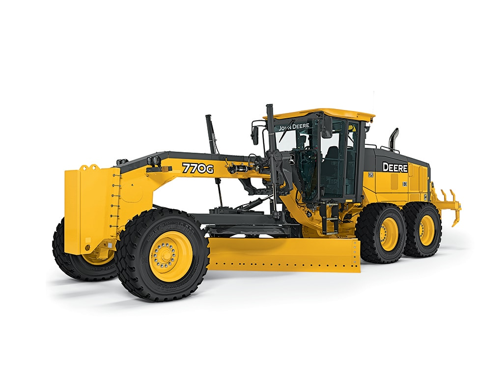 770 G motor grader studio image on a white background