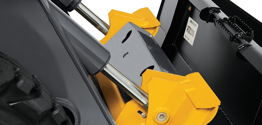 Close up of the quik-tatch system for hooking an attachment to a machine