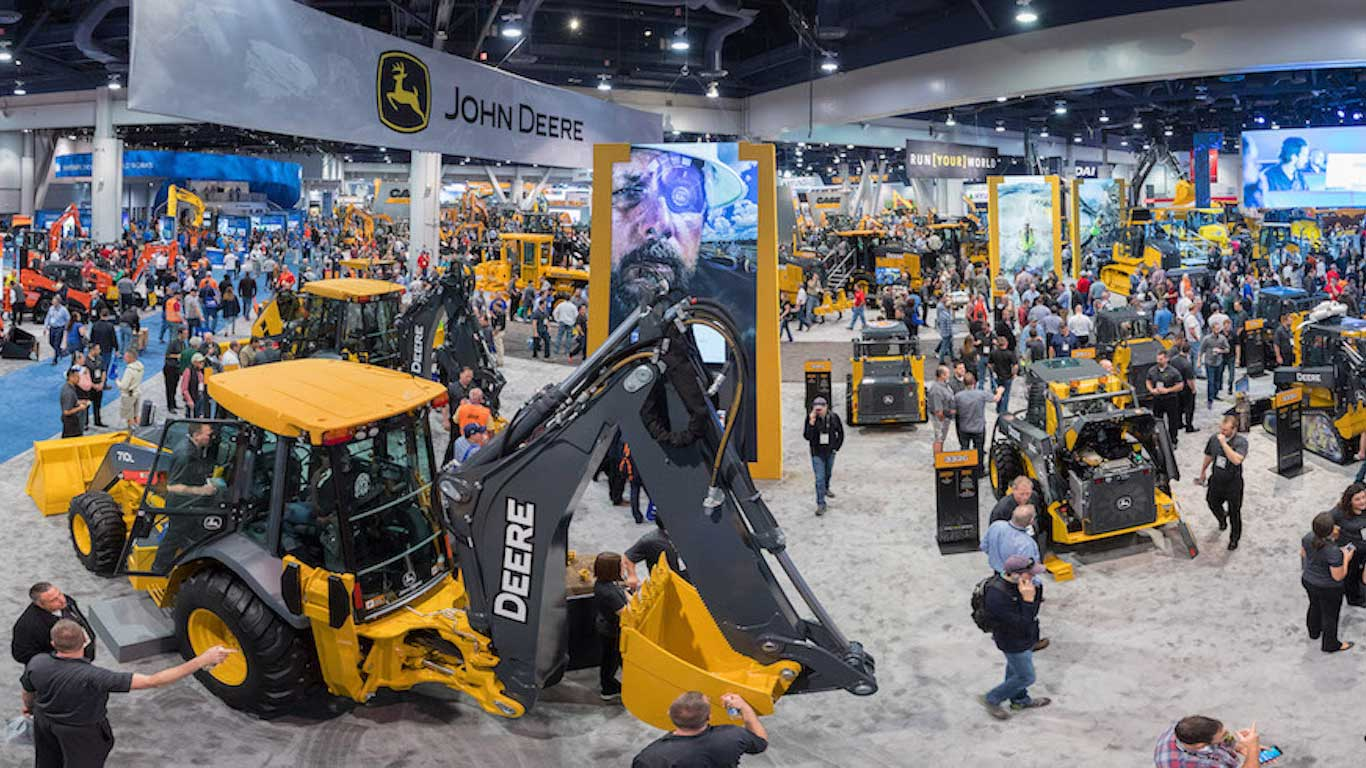 Panoramic view of the John Deere booth at a previous ConExpo