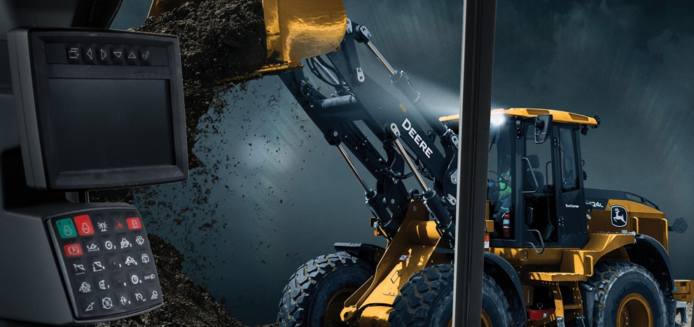Rendered image of a 524L mid-size wheel loader with high lift dumping a load of dirt