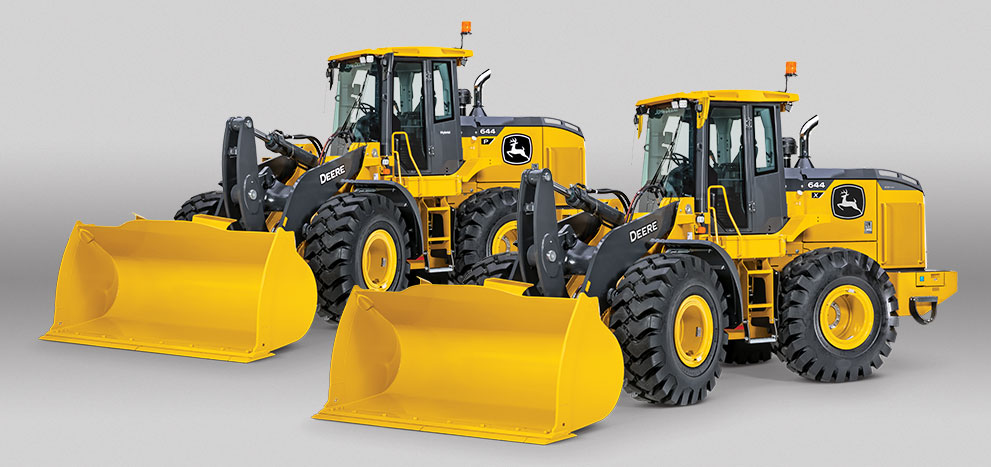 a 644 P-Tier and a 644 X-Tier mid-size wheel loader on a grey background