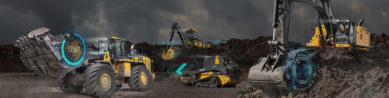 Fleet of John Deere construction equipment with holograph graphics overlaying machine images