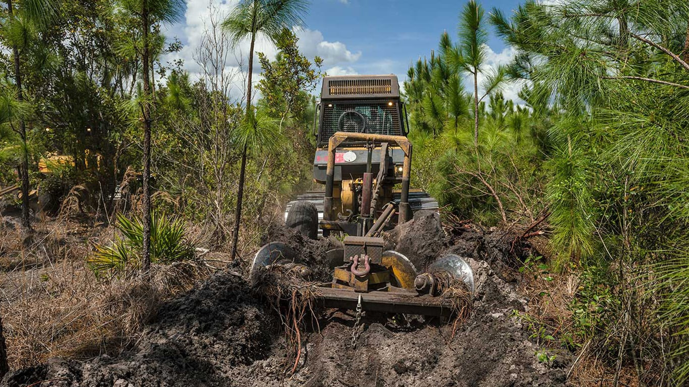 image of John Deere construction skid steer in forest