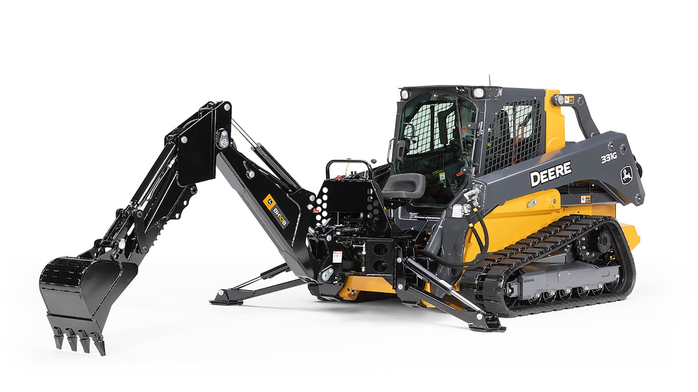 BH10B Backhoe Construction Attachment on 331G Compact Track Loader with white background
