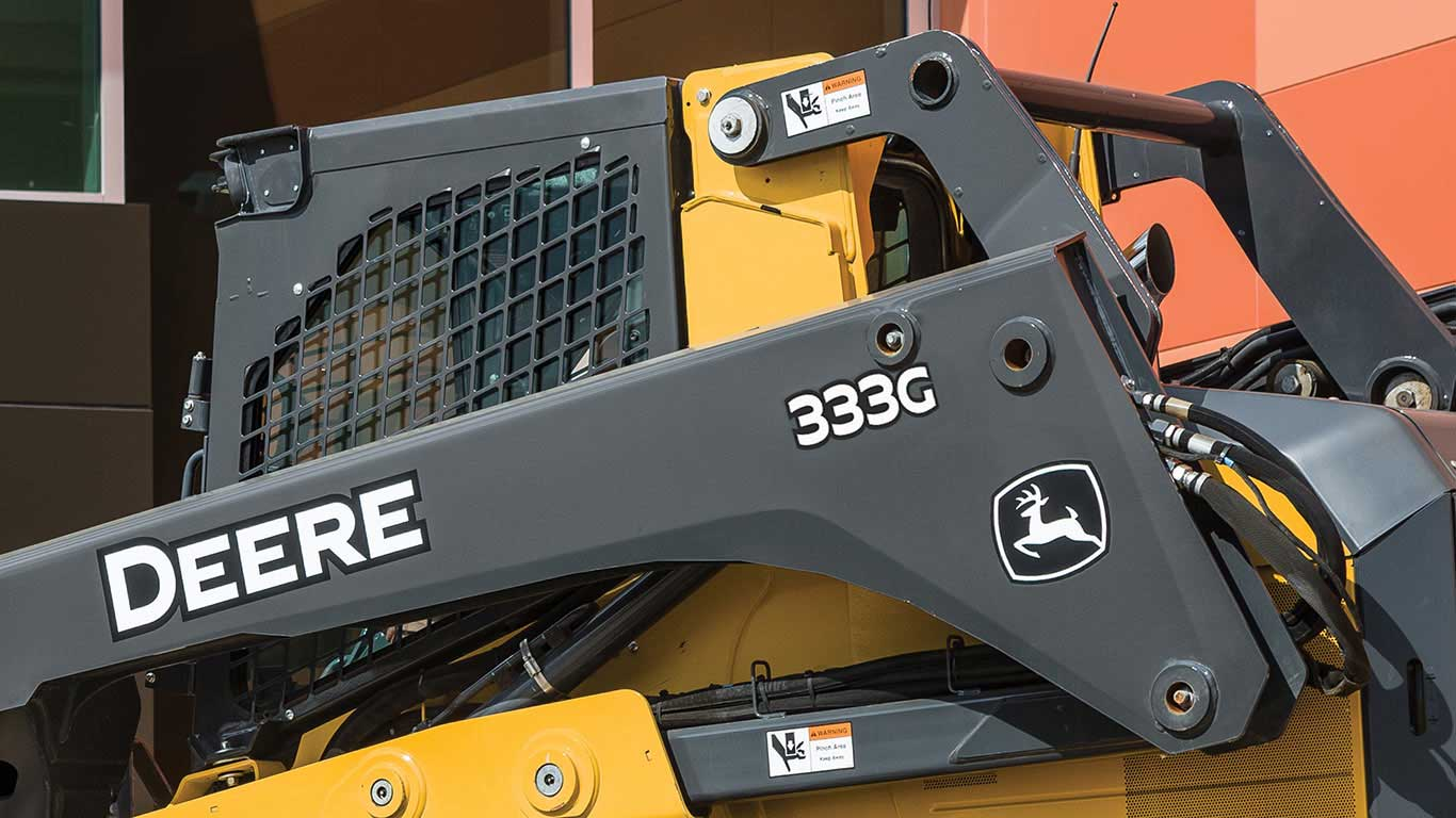 Close up of a John Deere 333G Compact Track Loader