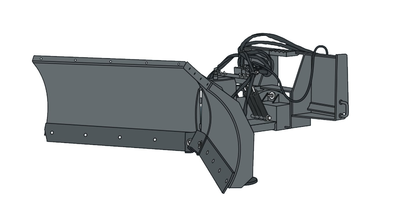 graphic of a v-blade snow removal attachment