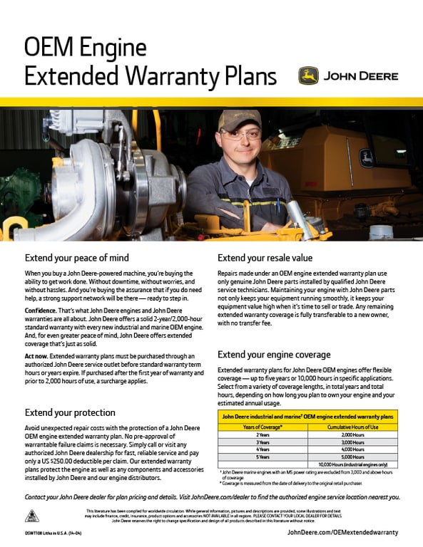 OEM Engine Extended Engine Warranty Flyer
