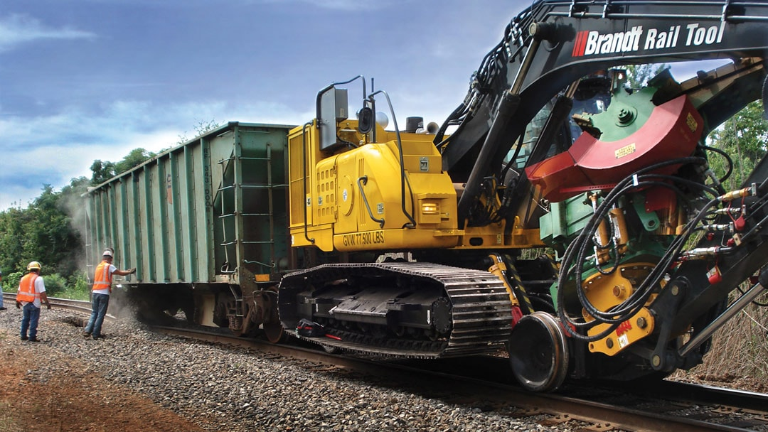 Brandt Road rail tool pulls a train car