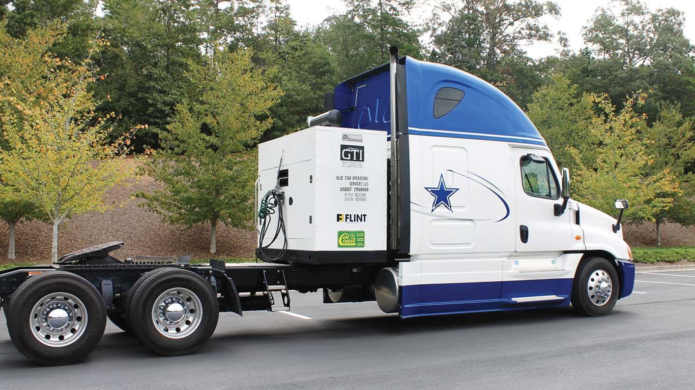 The Dallas Cowboys Hall of Fame trailer with the generator set displayed.