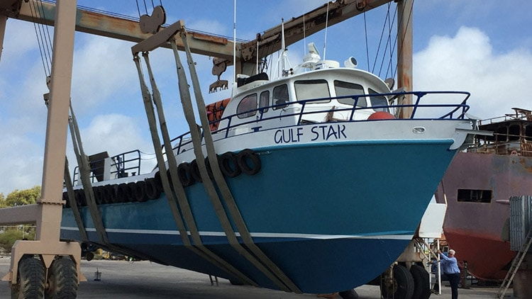 The Gulf Star suspended on land