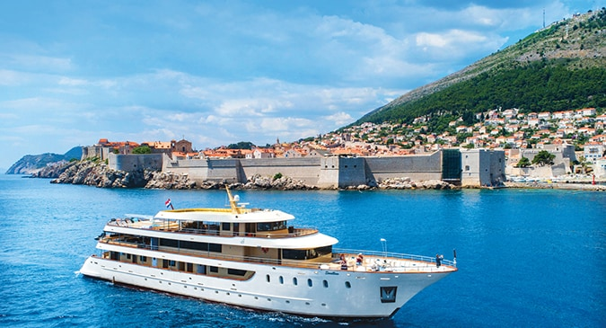 Superyacht Swallow cruising down the dalmatian coast, powered by John Deere marine engines