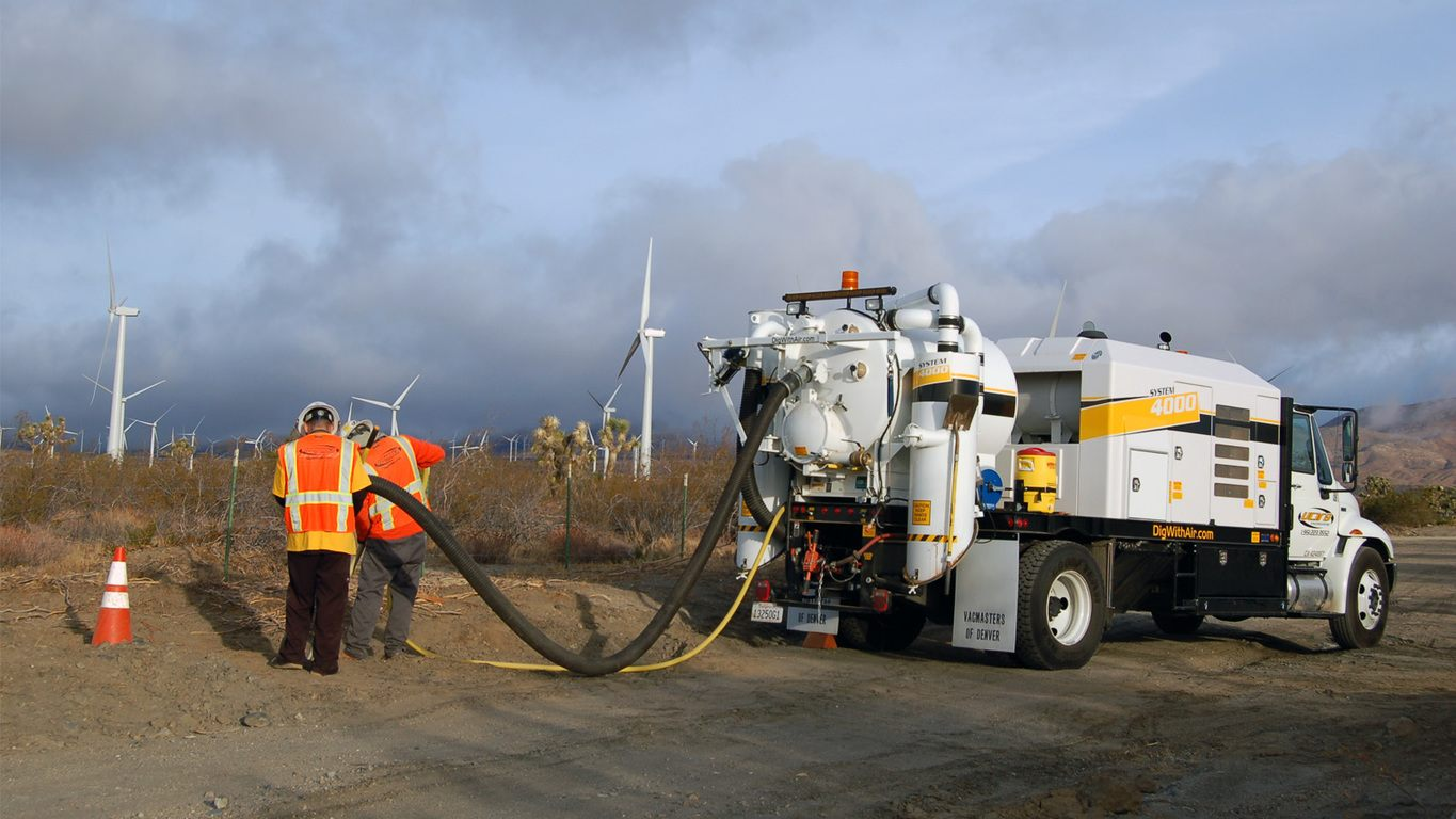 Vacmasters potholing near a wind farm