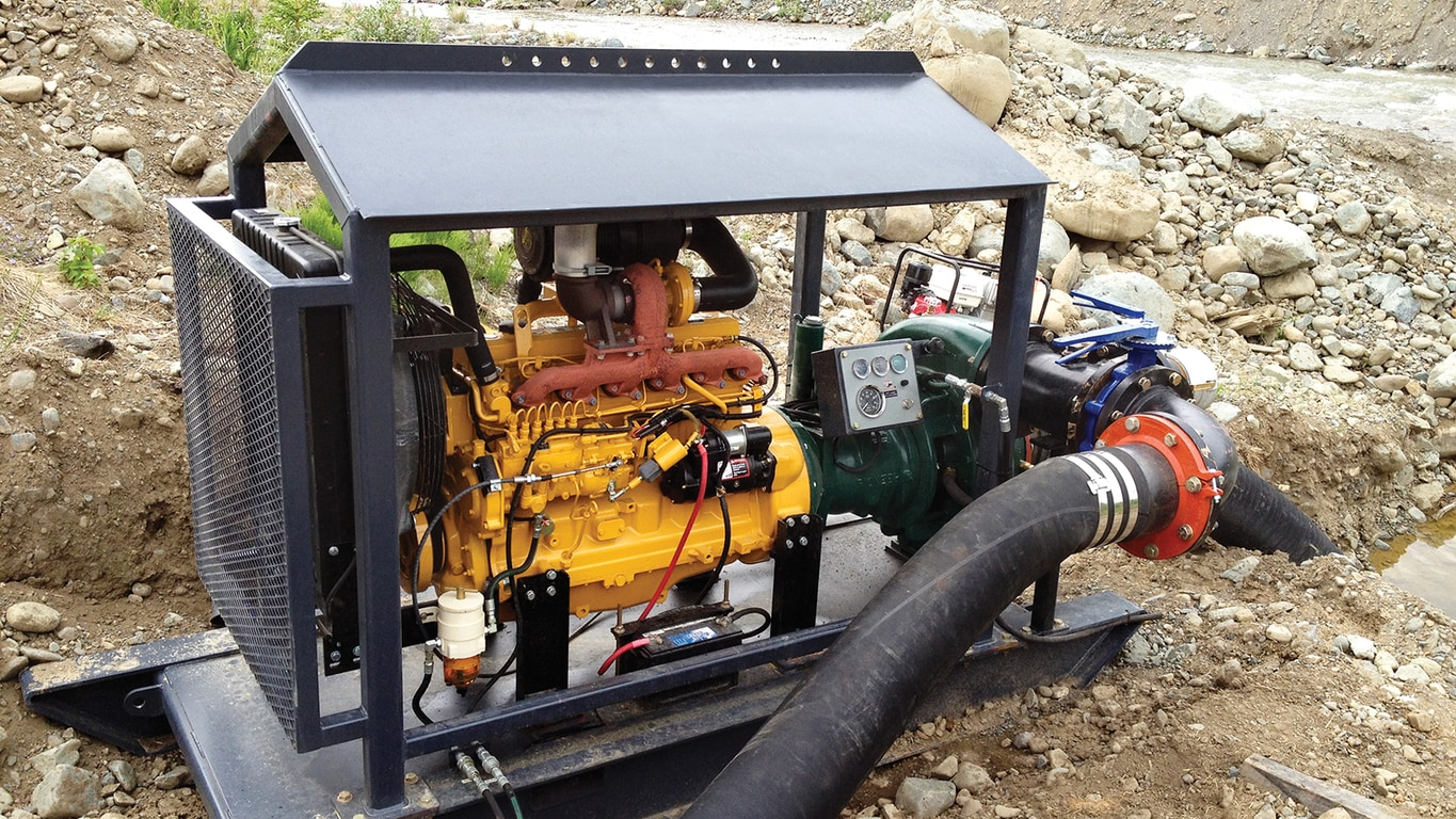 A pump at a placer goldmine with a PowerTech 6.8L engine