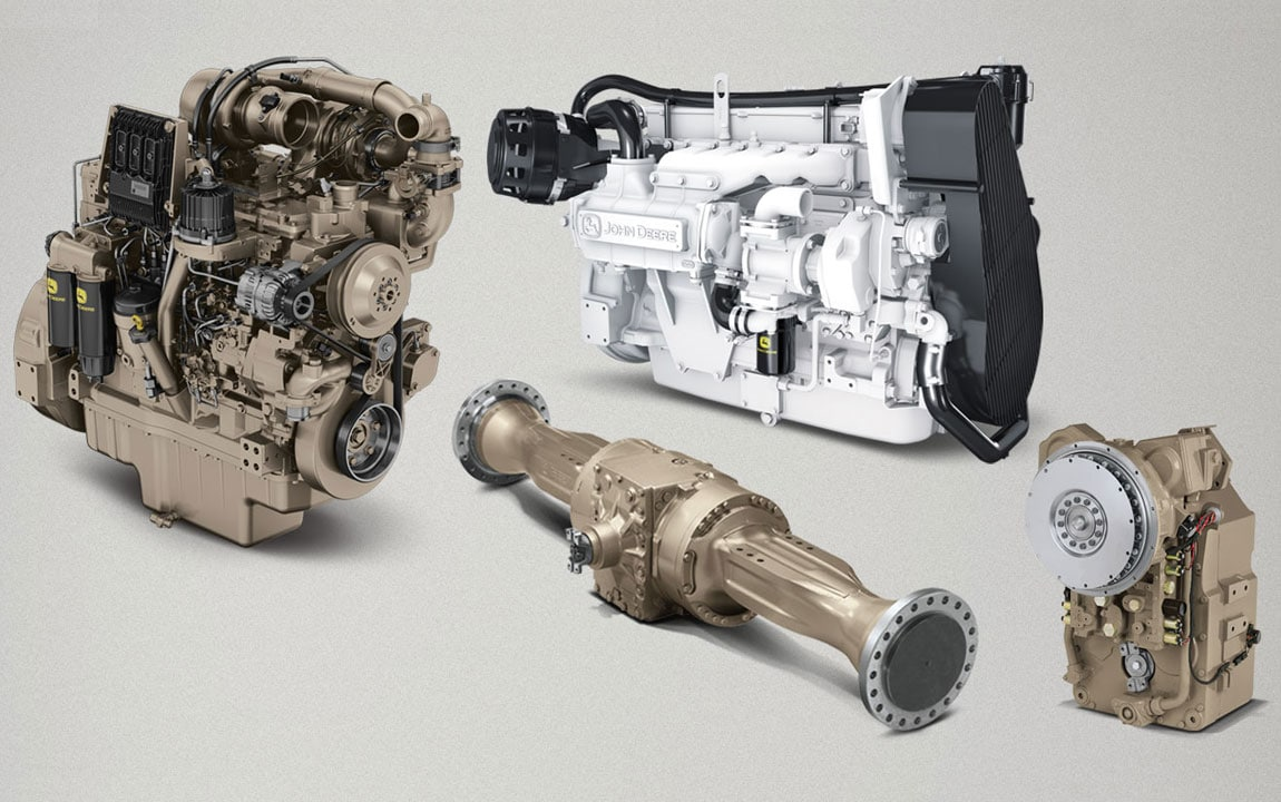 An array of engines and drivetrain components