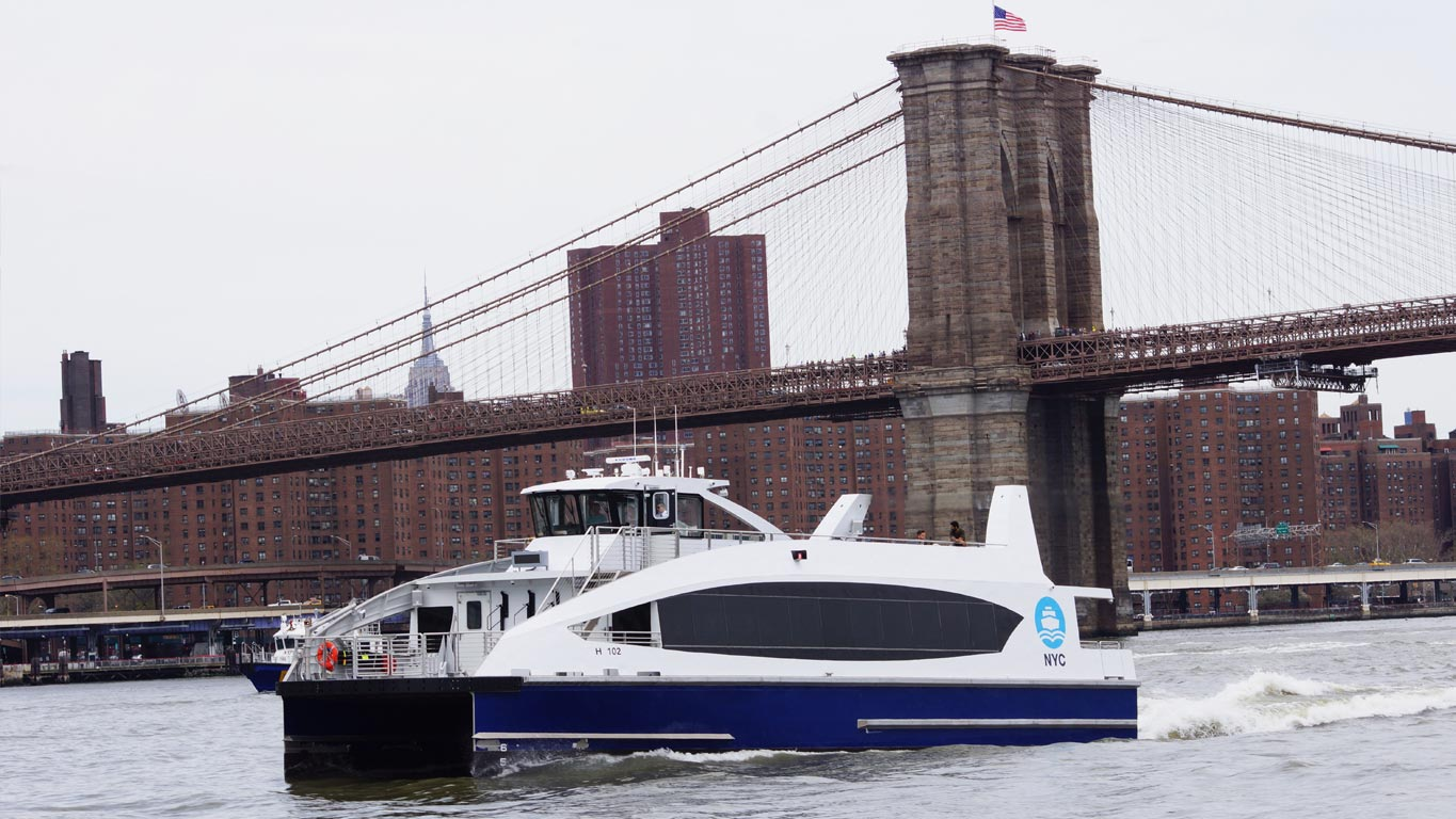 NYC ferry provided by Hornblower