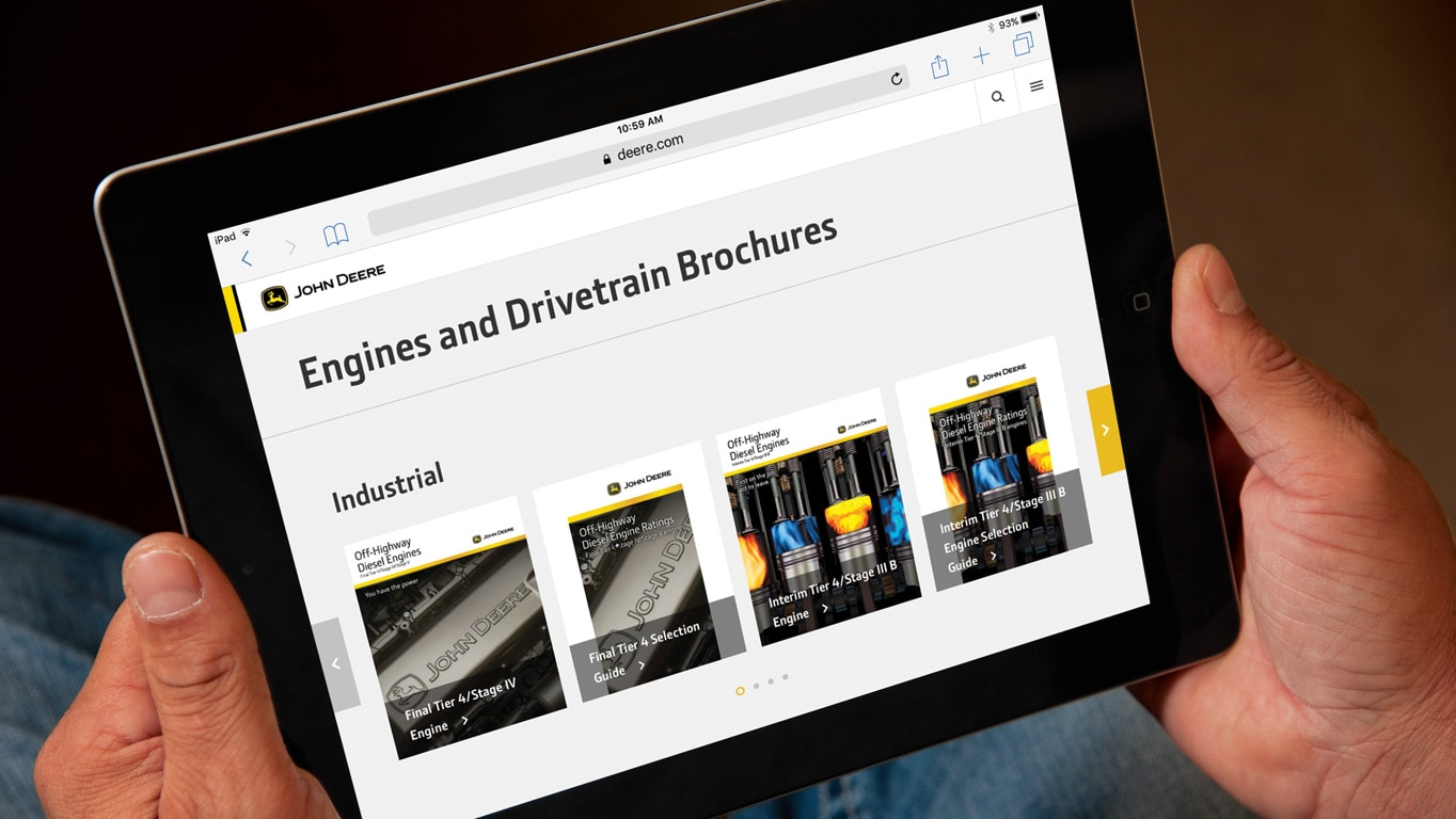 Engine brochures showing on digital device