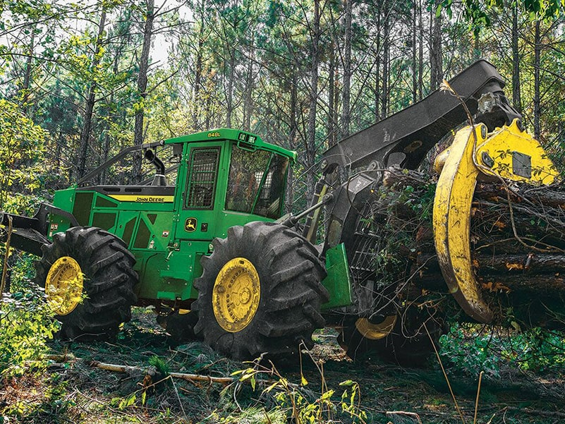 John Deere 848L Skidder in the Field