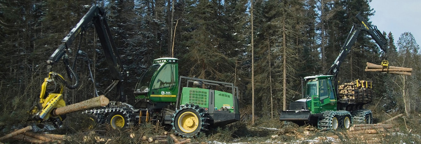 Wheeled Harvesters in the forest