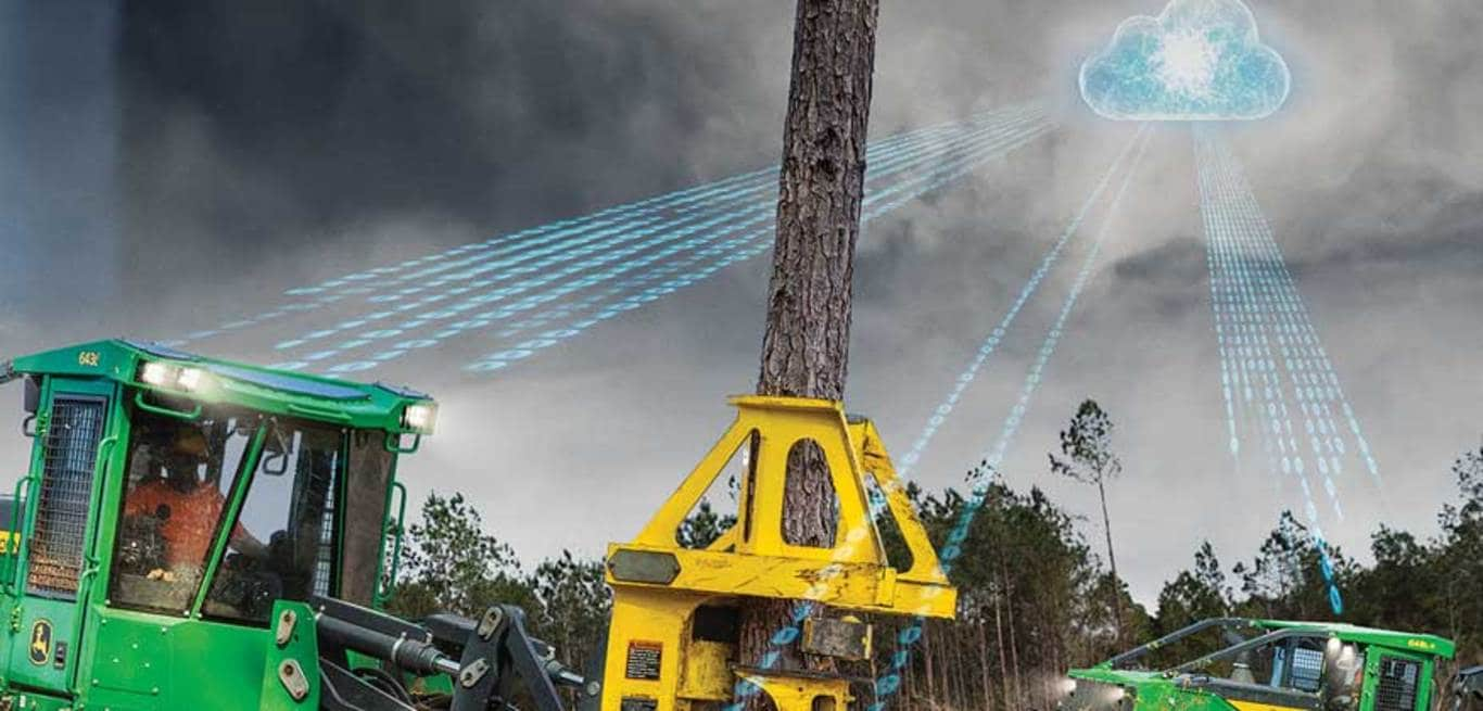 Artistic representation of cloud exchanging data with forestry machines