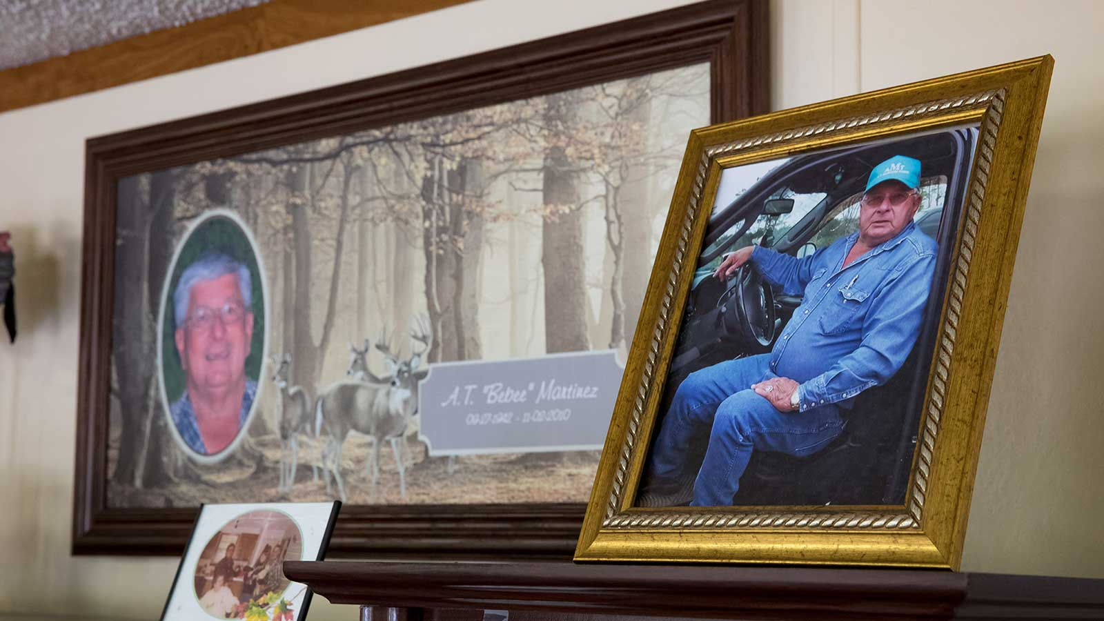 Framed photos of A.T. Martinez in the family home