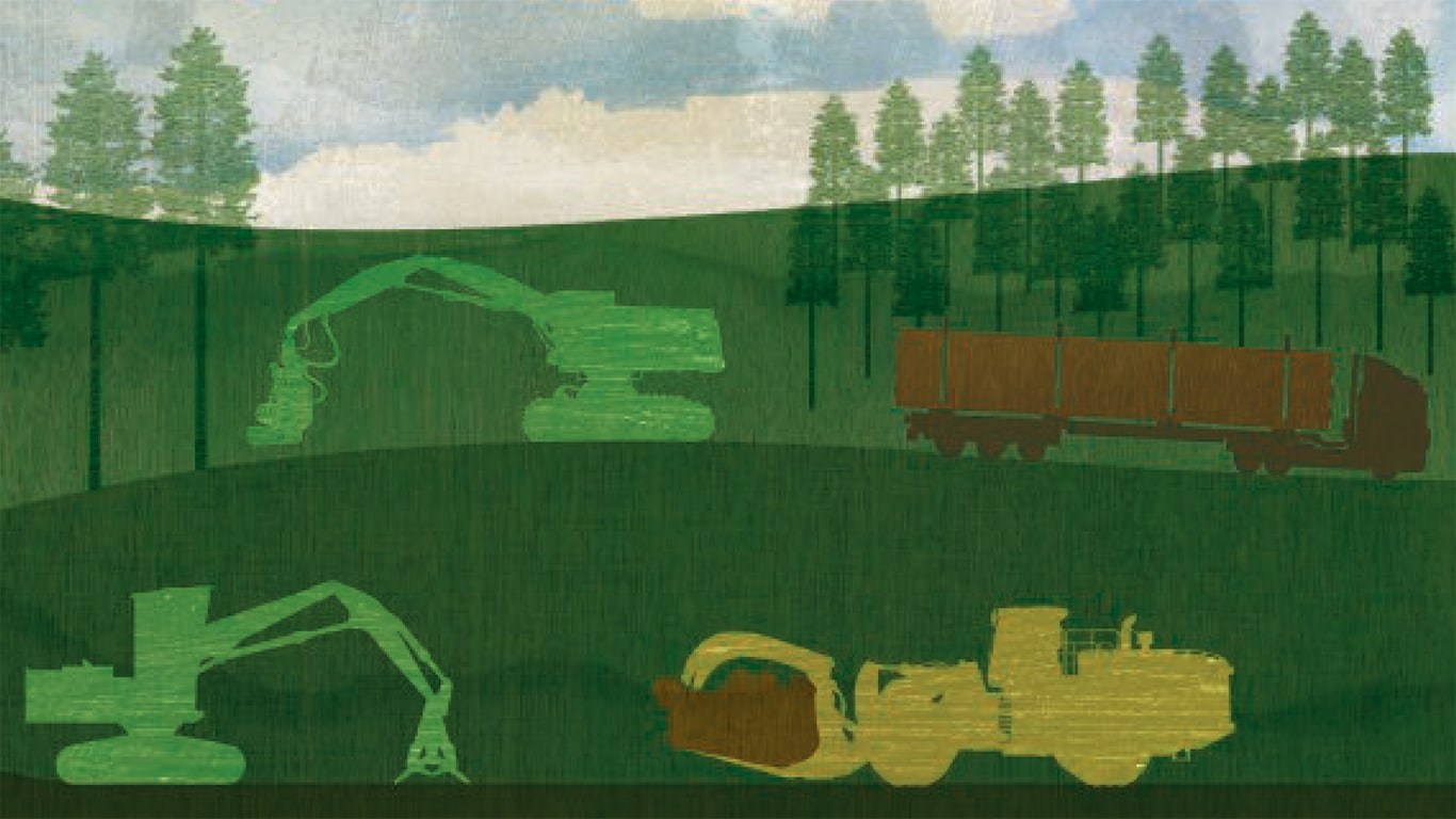 Brightly colored illustration of logging equipment working in the woods
