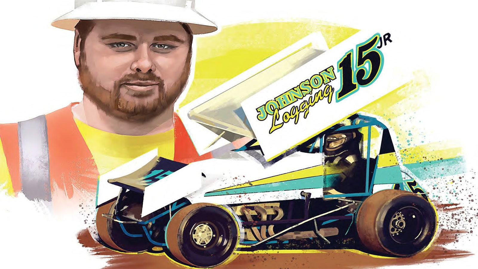 An artistic rendering of Thomas Johnson and his Johnson Logging sprint car.