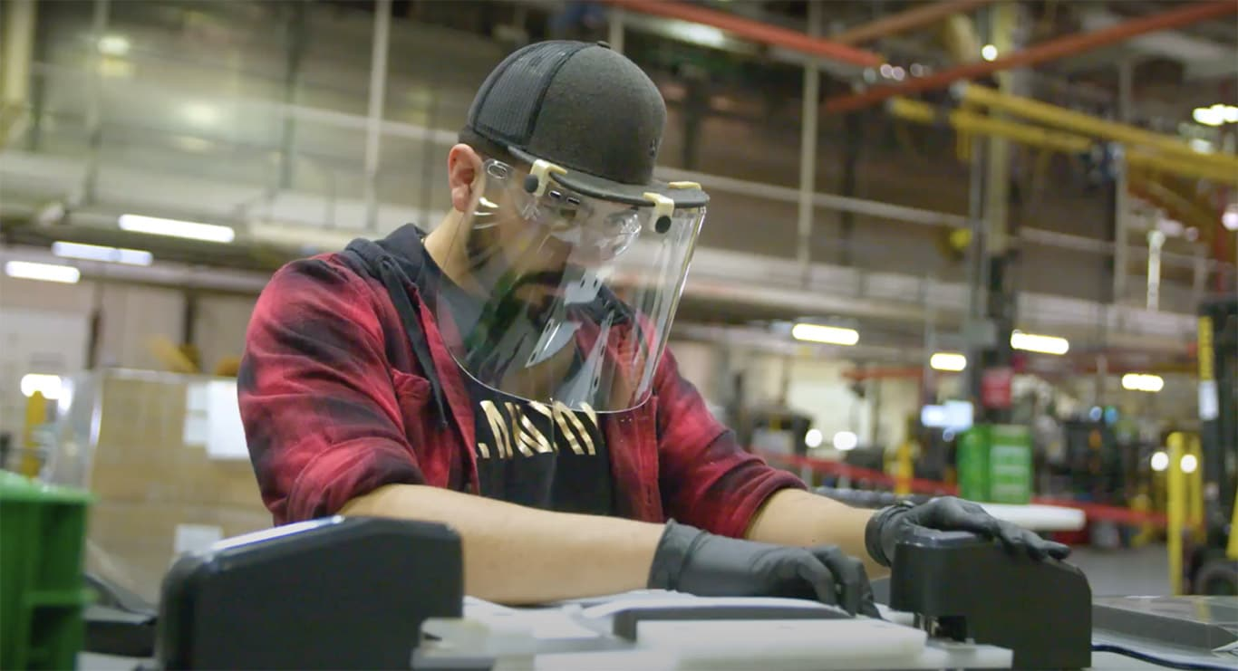 Worker with Face Shield