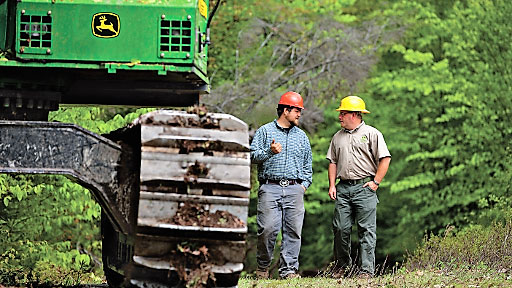 Two men with hard hats carry on a discussion next to a piece of forestry equipment