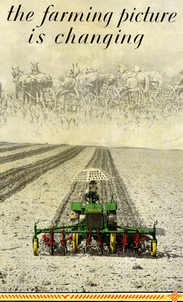 1930 color illustration of the A148 John Deere General Purpose Tractor tilling a field