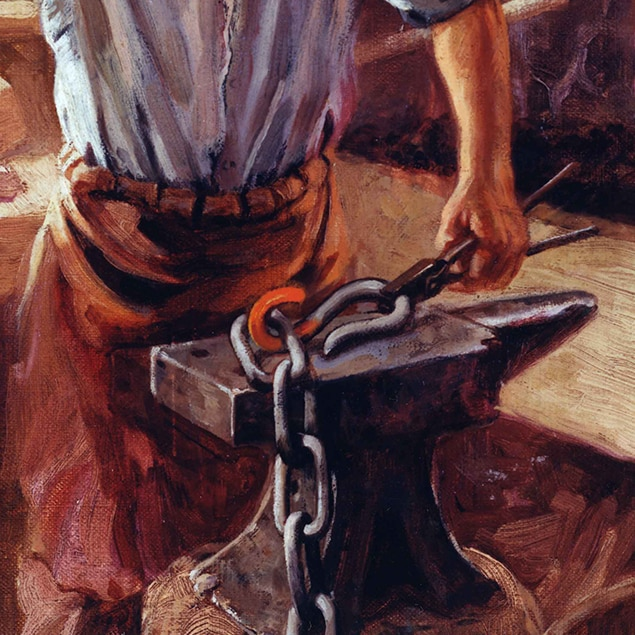 Walter Haskell Hinton painting of John Deere working in his blacksmith shop
