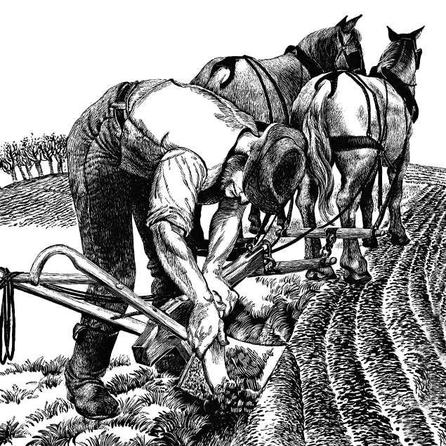 Line illustration showing a farmer scraping dirt of his steel plow