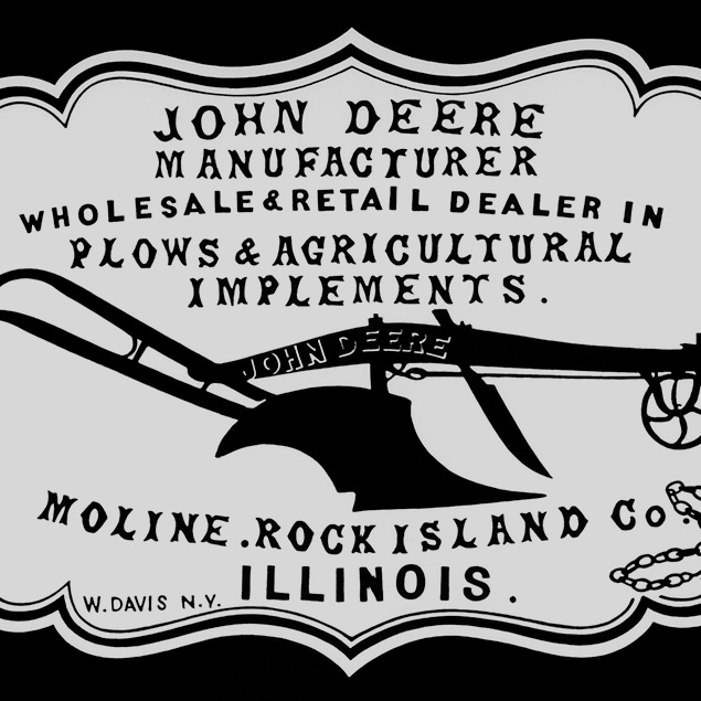 "A historical 1855 dealer advertisement ""John Deere Manufacturer, wholesale & retail dealer in plows & agricultural implements. Moline, Rock Island Co. Illinois"""