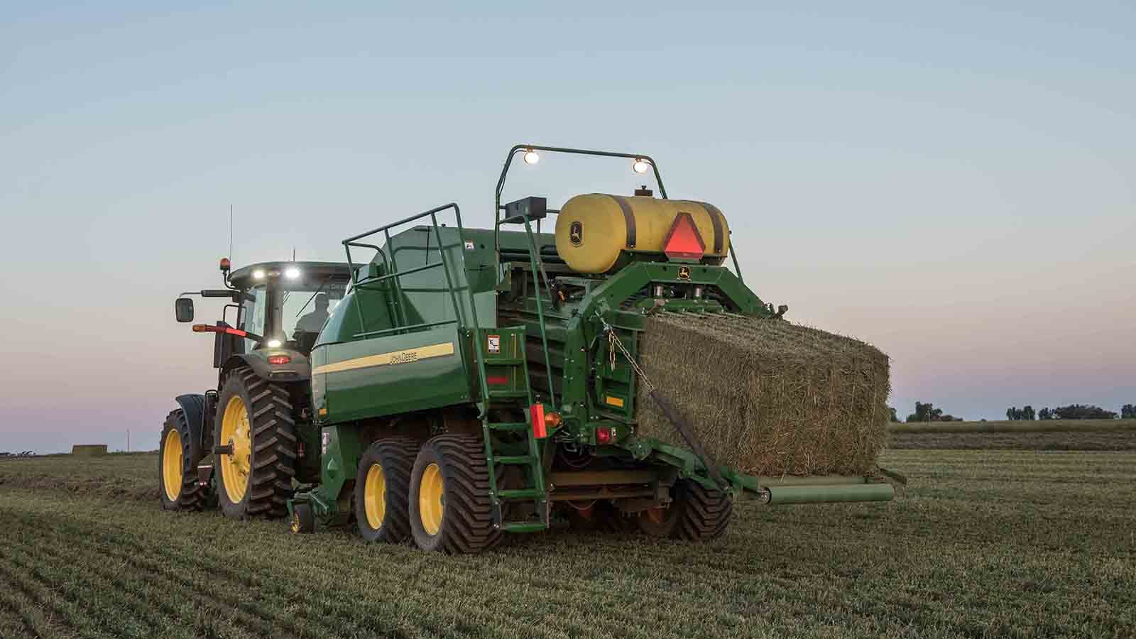 John Deere's new L331 and L341 Large Square Balers feature the MegaWideTM pickup with or without precutter. The L341 baler produces a 3x4-foot bale.