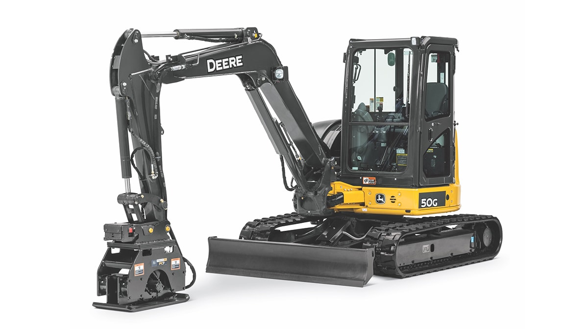 John Deere PC4, PC7 and PC10 plate compactor models for trench, slope and excavation compaction applications.